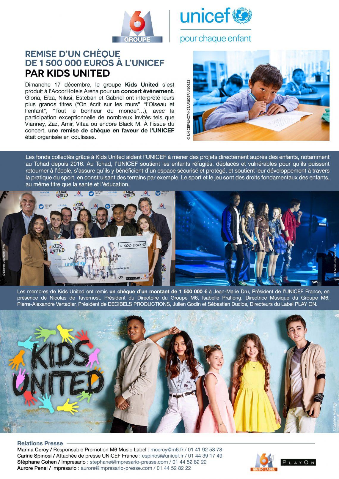 Remise d'un chèque de 1 500 000 euros à l'UNICEF par Kids United