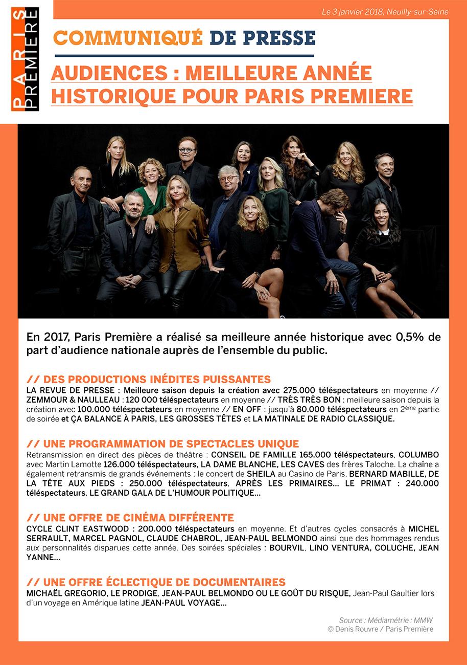 Meilleure année historique en 2017 pour Paris Première