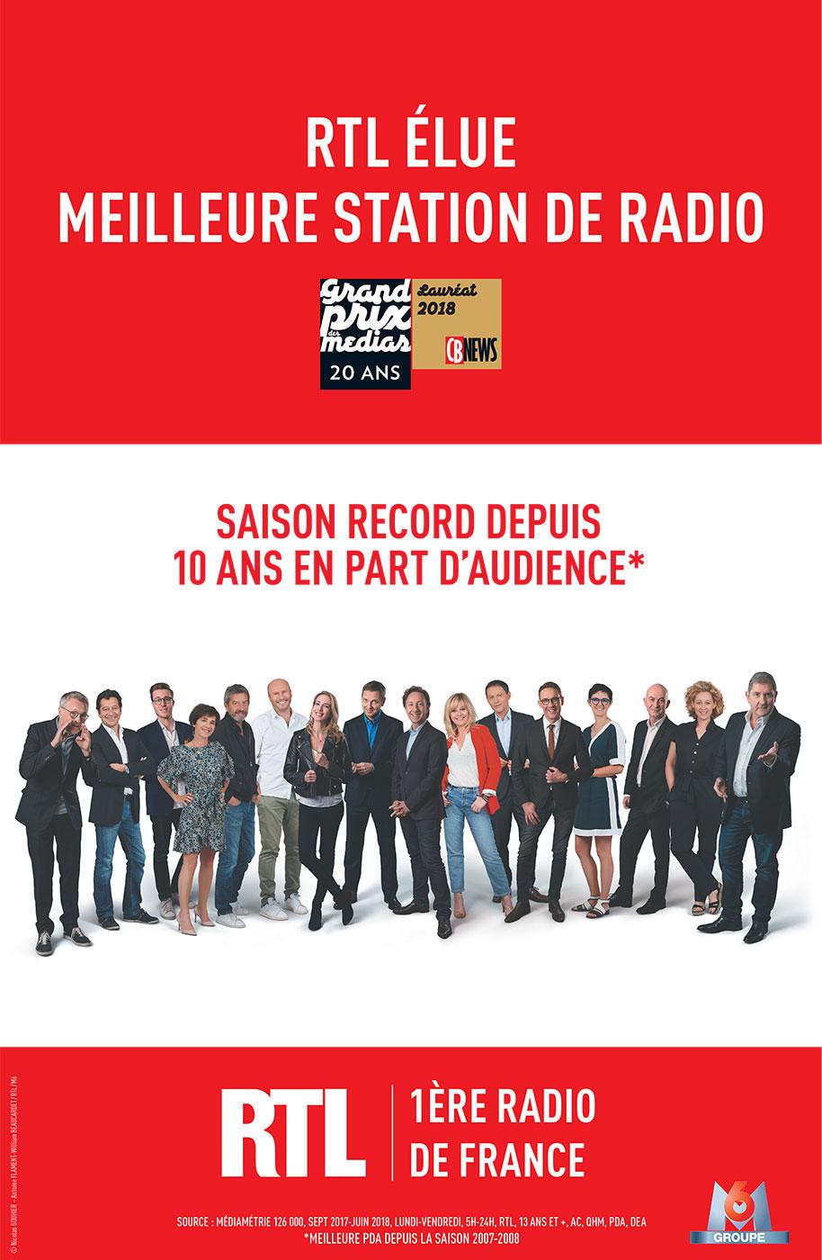 RTL meilleure station de radio de l'année Grand Prix des Medias CB News